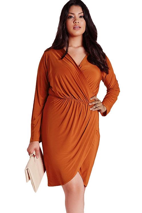 Rust Plus Size Slinky Wrap Dress
