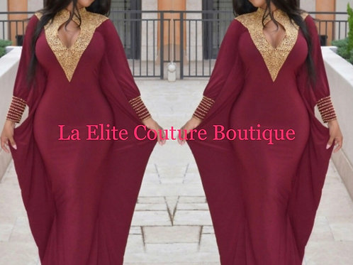 Egyptian Wine Red  Maxi Dress