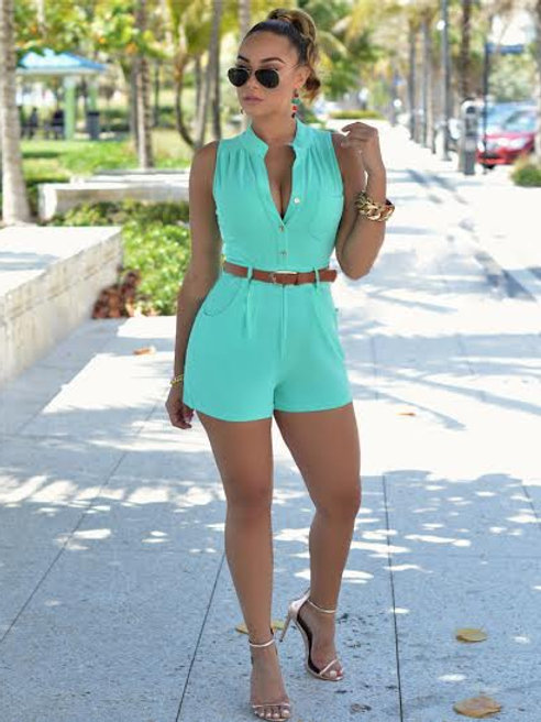 Button Front Belted Romper