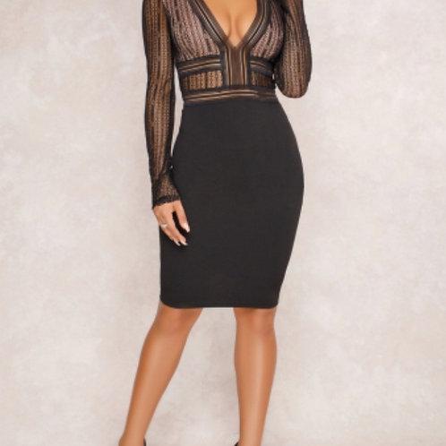 Elegant lace BodyCon Black dress