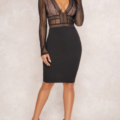 880786bfb Elegant lace BodyCon Black dress