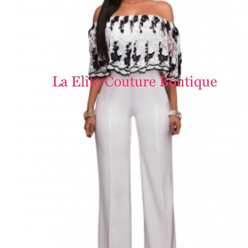 Ruffle overlay Embroidery Strapless Jumpsuit