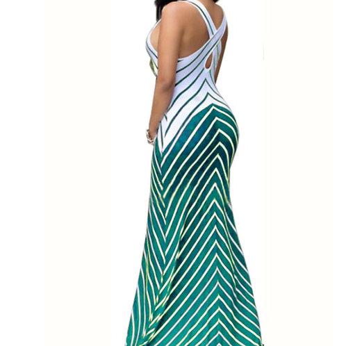 Stripe cross strap maxi dress