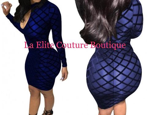 Sexy black blue midi dress