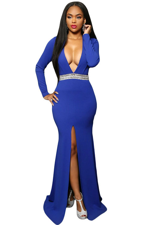 Hollywood Jeweled Waist Front Slit Gown