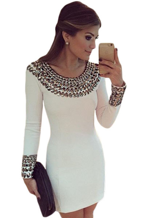 Sexy Round Neck Long Sleeve Bodycon Studded Dress