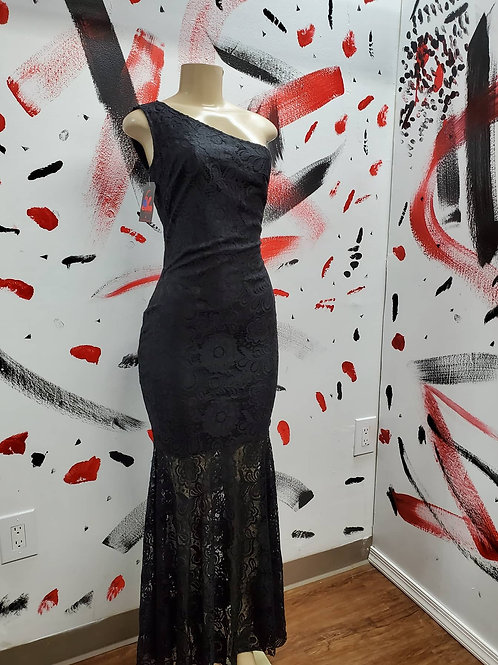 Black one strap lace Gown