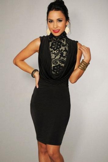 Featured Neck Black Vintage Dress