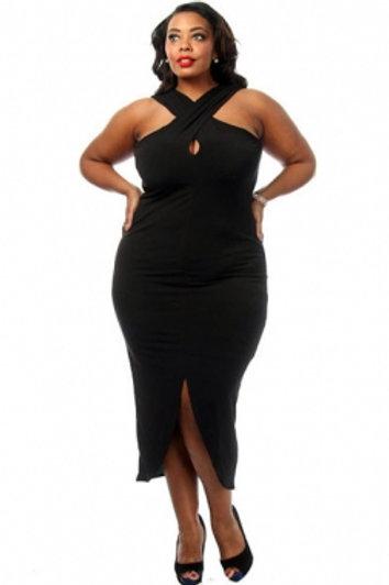 White Plus Size Cross Halter Jersey Dress