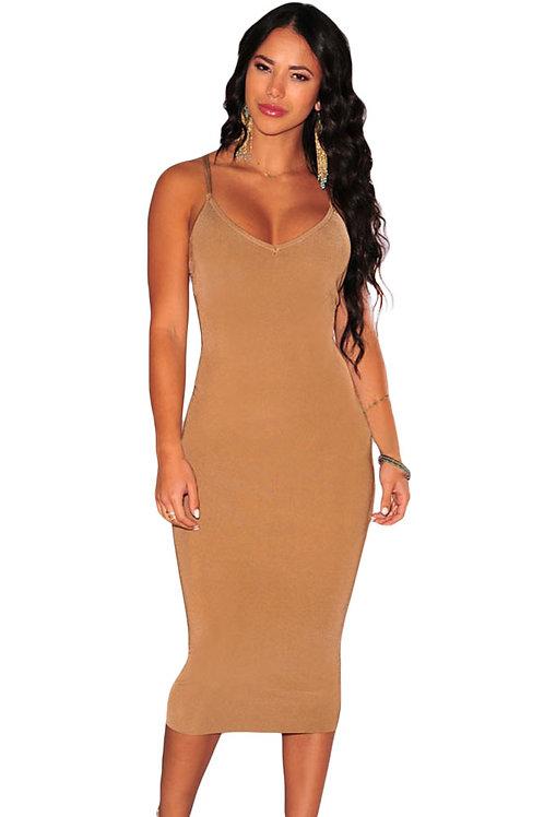 Brown Double CrissCross Back Dress