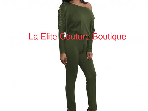Green Lace Long sleeve JumpSuit