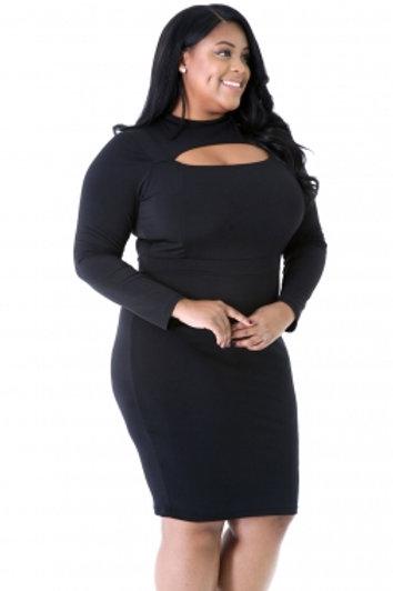 Long Sleeve Keyhole Bodycon Black Dress