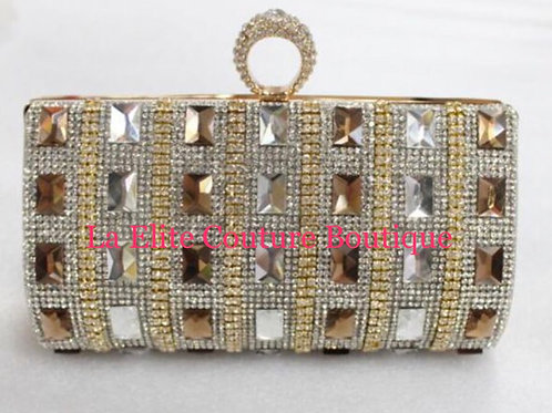 Euro Hollow Out Hasp Beading Evening Clutch Bag