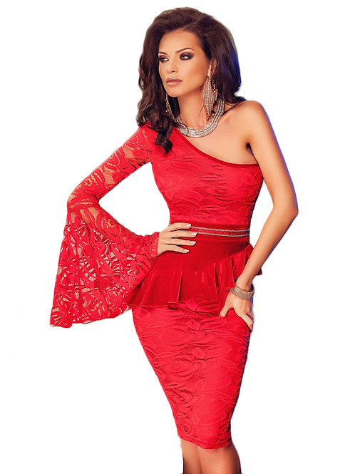 Red Lace One Shoulder Bell Sleeve Peplum Dress