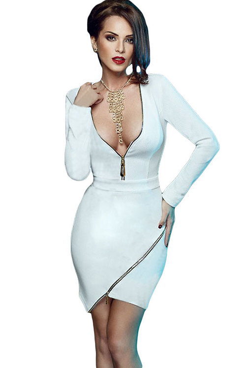 White Long Sleeve Zip Detail Mini Dress