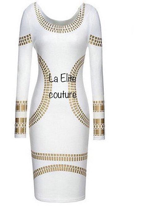 Simple white Gold midi dress