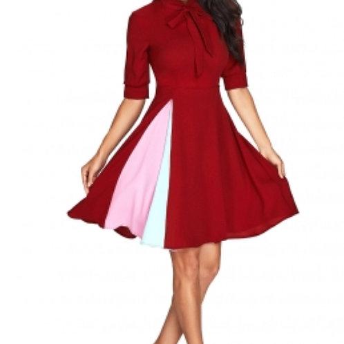 Burgundy bow tie Vintage Dress
