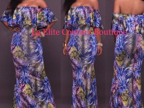 Off-Shoulder Overlay Print Maxi Dress