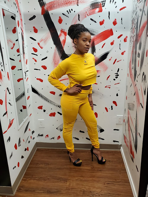 Yellow two piece pants set