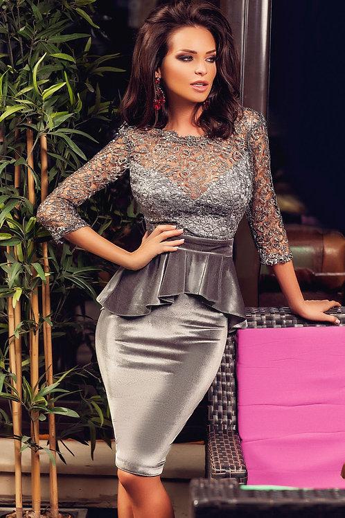 Shiny Hollowed Lace Top Velvet Peplum Dress