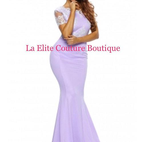 Embellished Violet eyelash Lace prom Gown