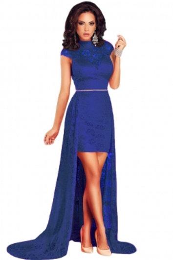 Short Royal Blue Lace Dress