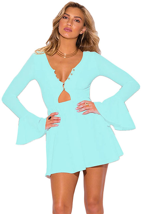 Light Blue Bell Sleeve Neck Line Dress
