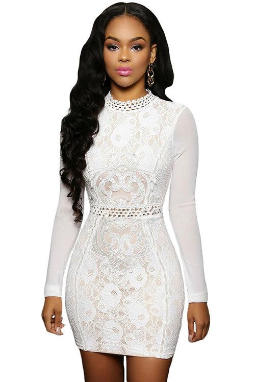 White Lace Mesh Sleeves Mini Dress