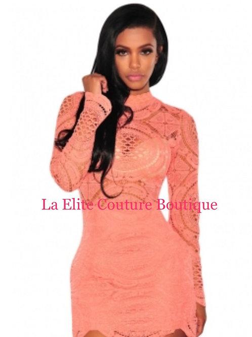 Orange Crochet Lace High Neck Mini Dress