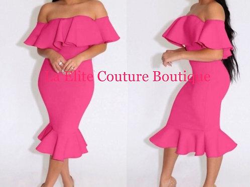 Sweet Rose Off-shoulder Flounced Bodycon Dress