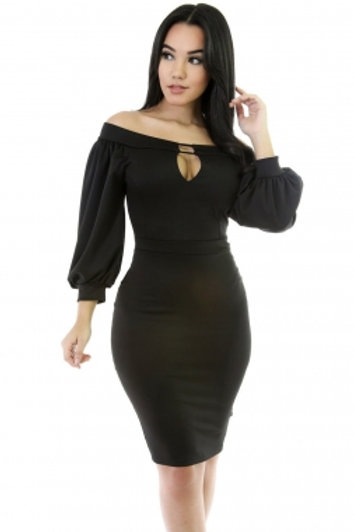Puffs Peep Hole Off Shoulder Midi Bodycon Black Dress