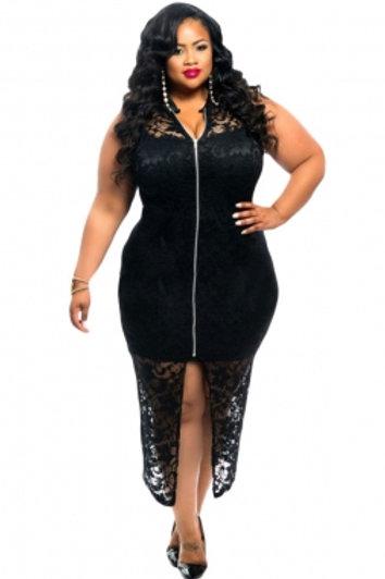 Sleeveless Lace Zipper Front Dress
