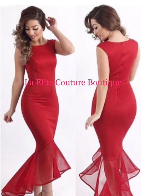 Red Tulle Fishtail Sleeveless Party Dress
