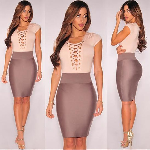 Short Sleeve Sexy Lace Up Bodycon Dress