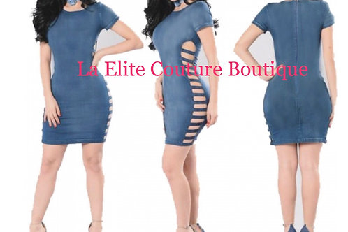 Sexy Side Hollow Out Denim Dress