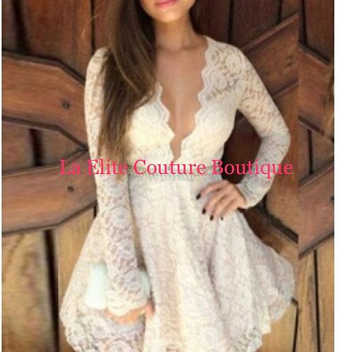 Gorgeous Deep V Neck Lace Dress