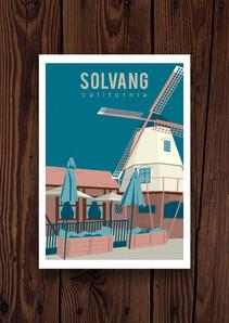 Solvang Illustrated Postcard