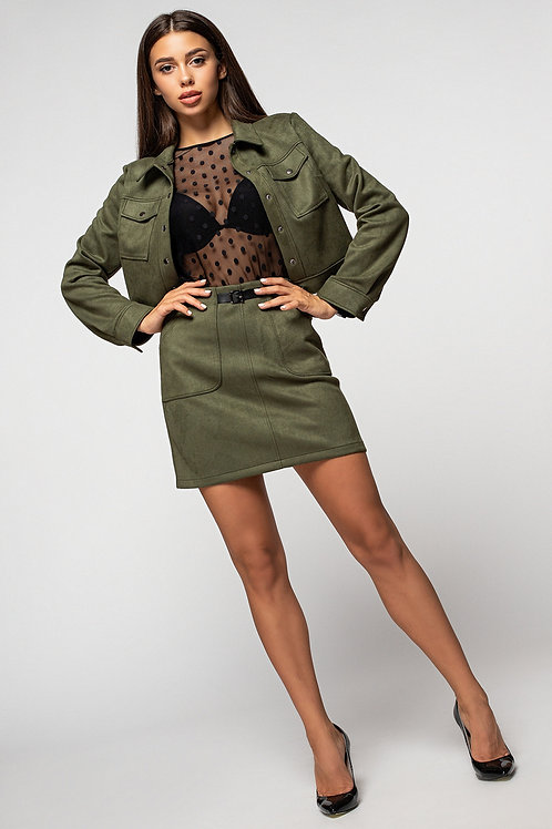 Suede suit mini skirt + green jacket with buttons