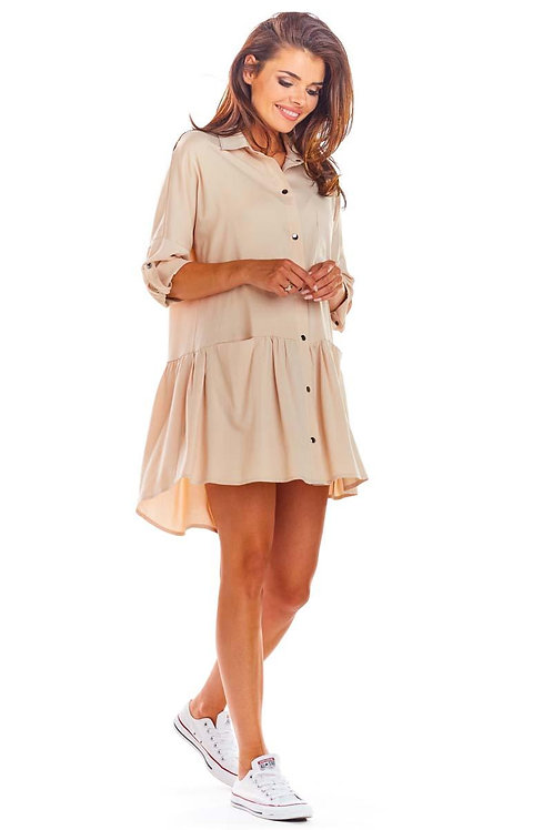 Loose mini shirt dress with a curl and a long back, beige, pink and black