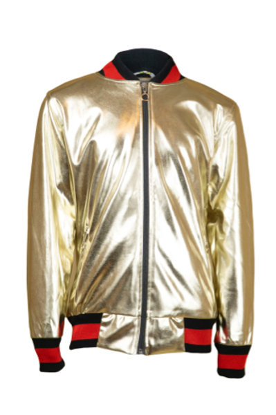 Gold-colored jacket for boys and girls lined with cotton for rainy days