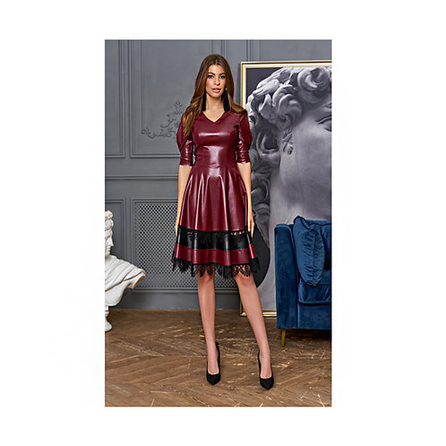 Leather dress , evening combined with the leading fashion lace trend - leather products