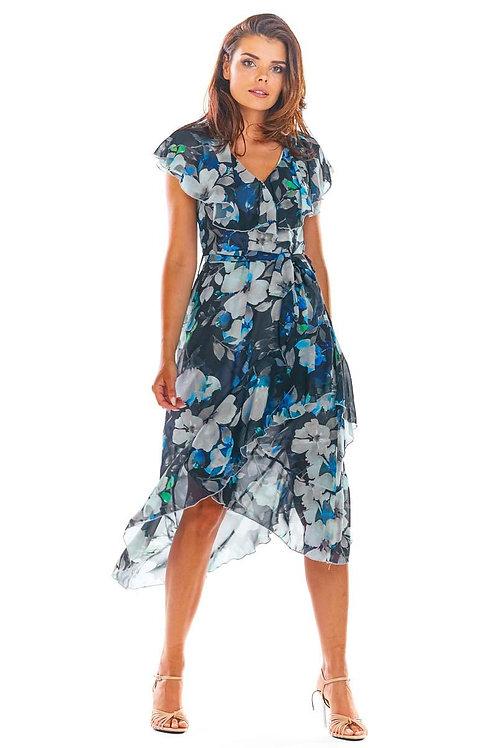 שמלת מעטפה מידי בפרחים עם סלסול קלילה ונעימה לימי הקייץ