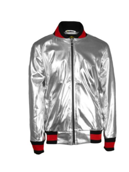 Silver-colored jacket for boys and girls lined with cotton for rainy days