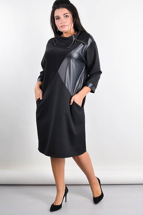 Large sizes black dress with eco-leather embellishments and pockets