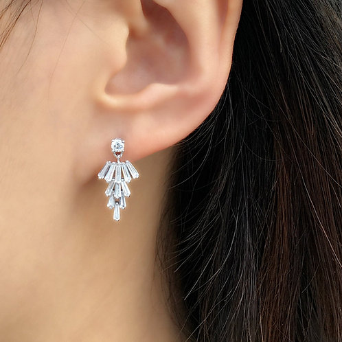 Sterling silver earrings for the bride are dangling