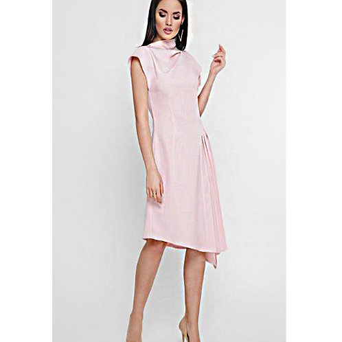 High collar dress asymmetrical and light pink pleated skirt