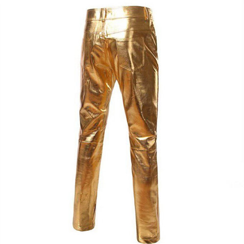 Elegant eco-leather pants in gold, glamorous skinny jeans