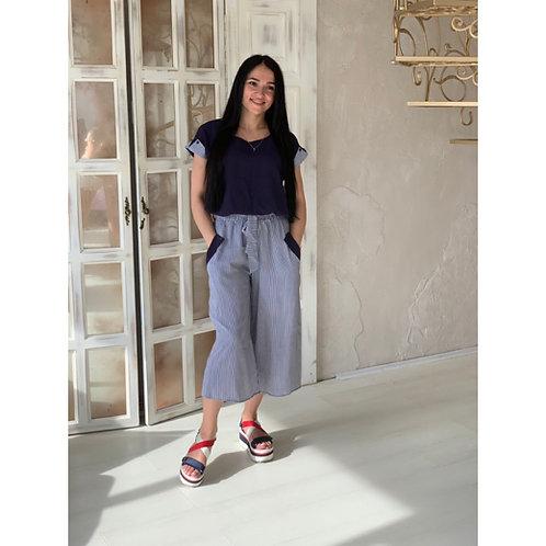 חליפת מכנסיים קייצית מכותנה, חולצה + מכנסיים 3/4 בצבע כחול