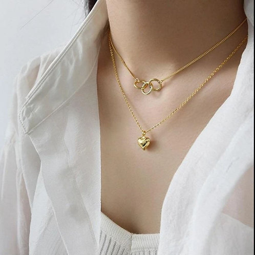 Choker necklace with a double layer of real gold-plated heart
