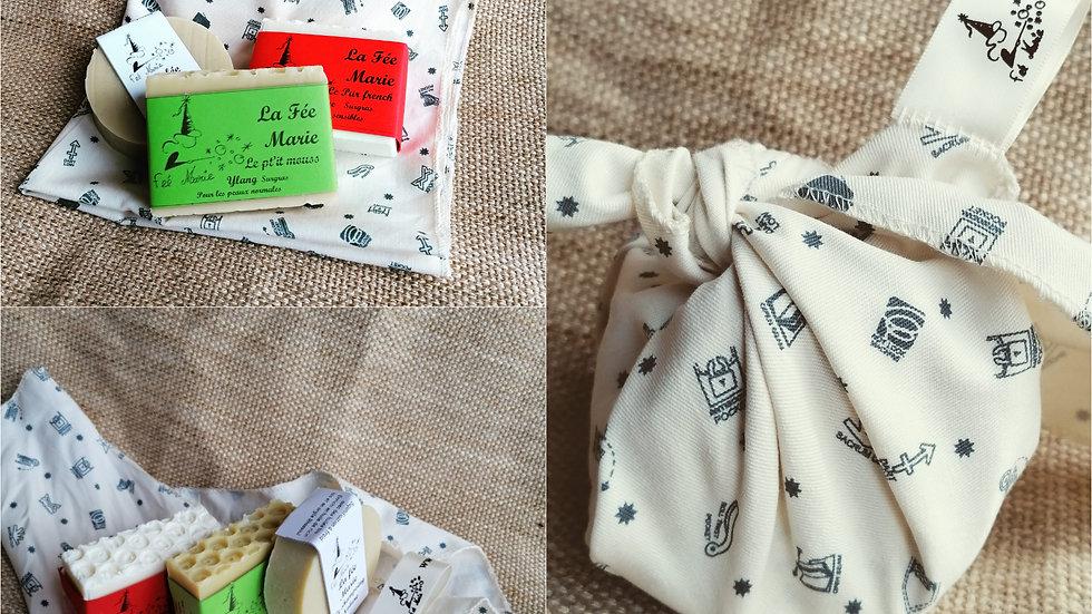Lot 3 savons avec furoshiki (papier cadeau réutilisable)